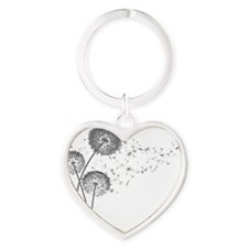 Dandelion Wishes Heart Keychain