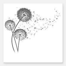 "Dandelion Wishes Square Car Magnet 3"" x 3"""