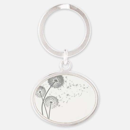 Dandelion Wishes Oval Keychain