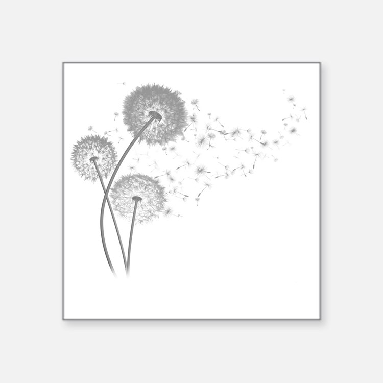 "Dandelion Wishes Square Sticker 3"" x 3"""