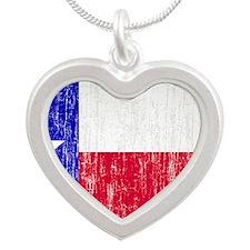 Vintage Texas Flag Silver Heart Necklace