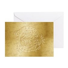 Gold Dragon Icon on Gold - 1 Greeting Card