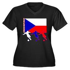 Czech Soccer Women's Plus Size V-Neck Dark T-Shirt