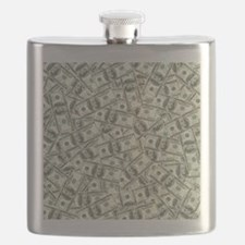 100 Dollar Bill Pattern Flask