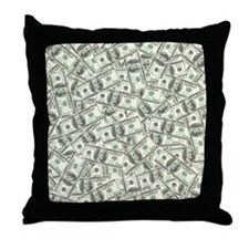 100 Dollar Bill Pattern Throw Pillow