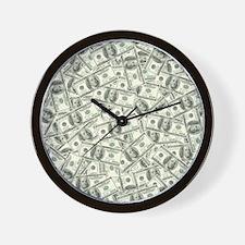 100 Dollar Bill Pattern Wall Clock