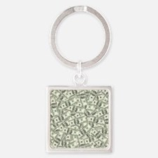 100 Dollar Bill Pattern Square Keychain