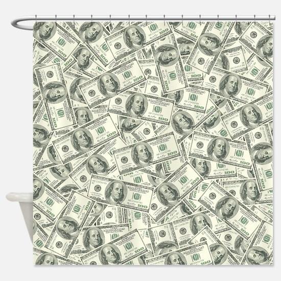 100 Dollar Bill Pattern Shower Curtain