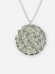 100 Dollar Bill Pattern Necklace