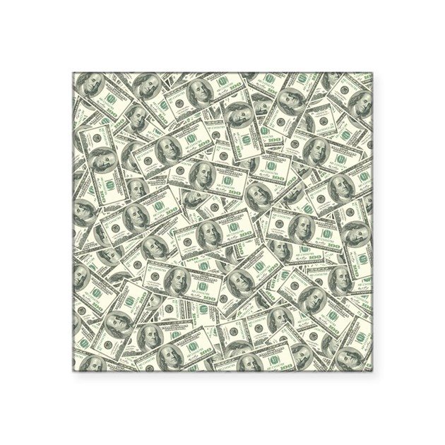 100 Dollar Bill Pattern Square Sticker 3 Quot X 3 Quot By Admin Cp3269
