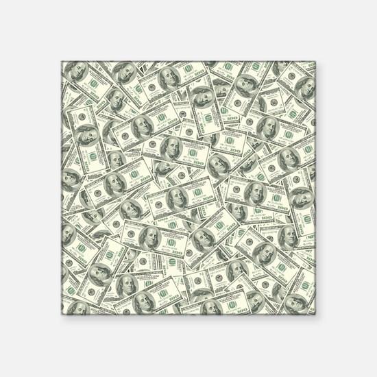 """100 Dollar Bill Pattern Square Sticker 3"""" x 3"""""""