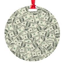 100 Dollar Bill Pattern Ornament