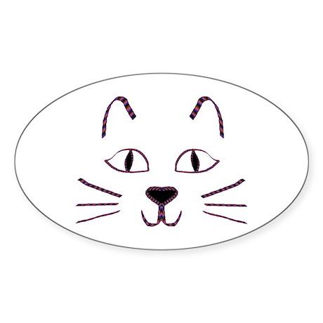 Purple Kitty Oval Sticker