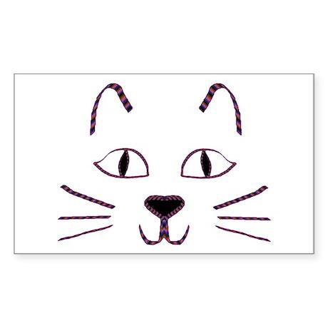 Purple Kitty Rectangle Sticker