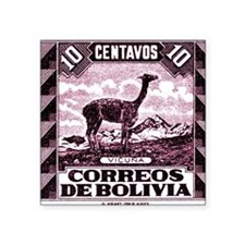 "Antique 1939 Bolivia Vicuna Square Sticker 3"" x 3"""