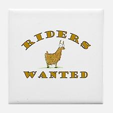 Llama Riders Wanted Tile Coaster