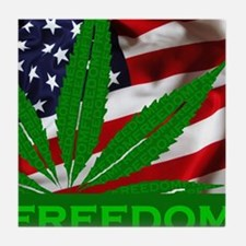 Marijuana Freedom Flag Tile Coaster