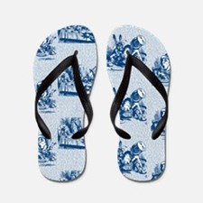 Mad Tea Party Text Toile Blue Flip Flops