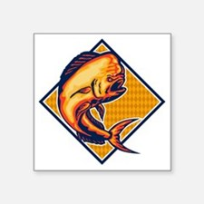 "Dorado Dolphin Fish Mahi-Ma Square Sticker 3"" x 3"""