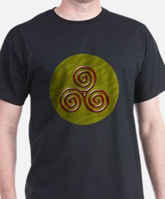 Red Triple Spiral on Green T-Shirt