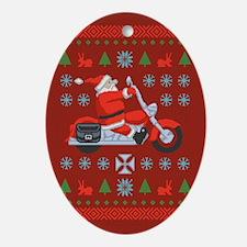 biker-xmas-sweater-T.png Ornament (Oval)