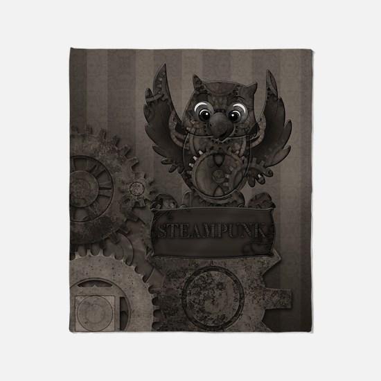 Steampunk Owl Throw Blanket
