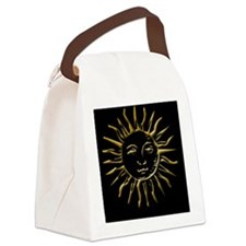 Gold Sun on Black Canvas Lunch Bag