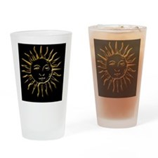 Gold Sun on Black Drinking Glass