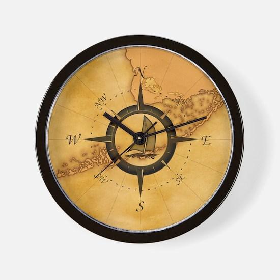 Key West Compass Rose Wall Clock