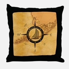 Key West Compass Rose Throw Pillow