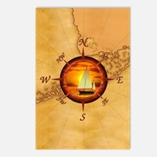 Florida Keys Map Compass Postcards (Package of 8)