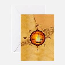 Florida Keys Map Compass Greeting Card