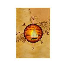 Florida Keys Map Compass Rectangle Magnet