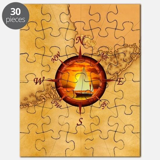 Florida Keys Map Compass Puzzle