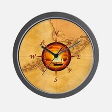 Florida Keys Map Compass Wall Clock