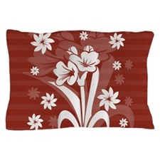 Modern red and silver gray floral design Pillow Ca