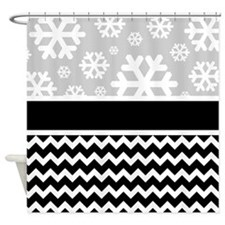 Snowflake Chevron Pattern Shower Curtain