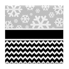 Snowflake Chevron Pattern Tile Coaster