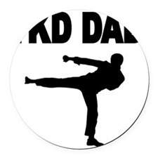 TKD DAD 2 Round Car Magnet