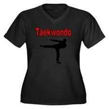 Taekwondo Women's Plus Size Dark V-Neck T-Shirt
