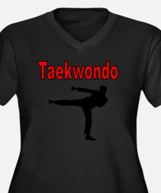 Taekwondo Women's Plus Size Dark V-Neck T-Shirt