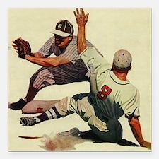 "Vintage Sports Baseball Square Car Magnet 3"" x 3"""