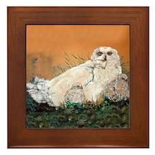 Snowy Owl in Nature Framed Tile