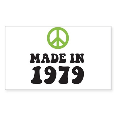 Made In 1979 Peace Symbol Rectangle Sticker