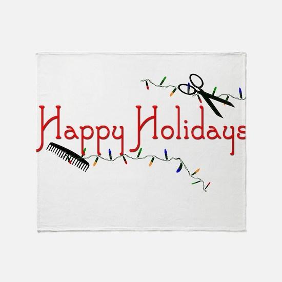 Happy Hairstylist Holidays Throw Blanket