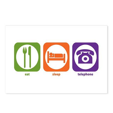 Eat Sleep Telephone Postcards (Package of 8)