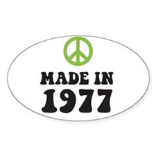 Made In 1977 Peace Symbol Oval Decal