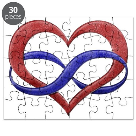 Infinity Heart Symbol - Polyamory Pride Fla Puzzle