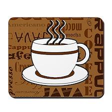 Coffee Words Jumble Print - Brown Mousepad