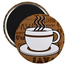 Coffee Words Jumble Print - Brown Magnet